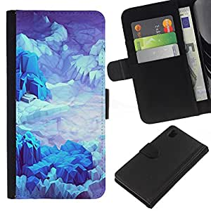 KingStore / Leather Etui en cuir / Sony Xperia Z1 L39 / Iceberg Planet Space Terreno Azul