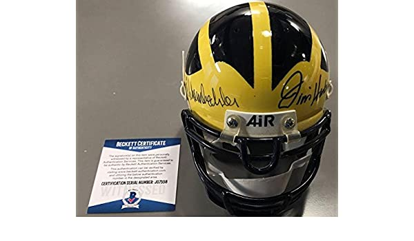 115b42d5380 Amazon.com  Jim Harbaugh Bo Schembechler Signed Michigan Wolverines Mini  Helmet Beckett Coa - Beckett Authentication  Sports Collectibles