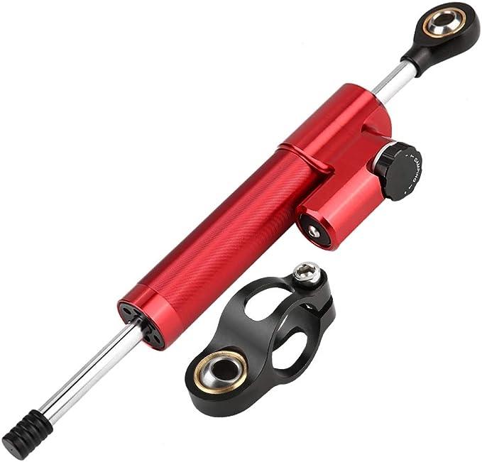 rouge contr/ôle universel de s/écurit/é de stabilisateur dalliage daluminium de guidon universel de moto Aramox Amortisseur de direction
