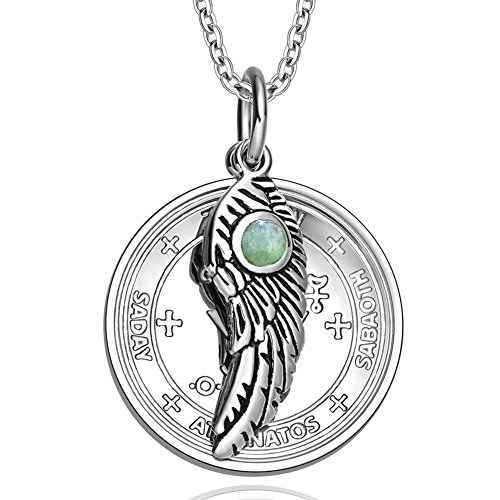 (Archangel Michael Sigil Amulet Magic Powers Angel Wing Charm Green Quartz Pendant 18 Inch Necklace )