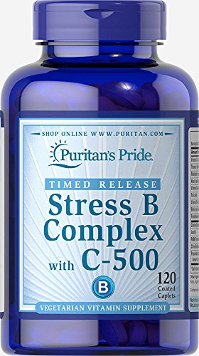 Puritan's Pride Stress Vitamin B-Complex with Vitamin C-500 Timed Release-120 Caplets (B-complex Caplet Vitamins)