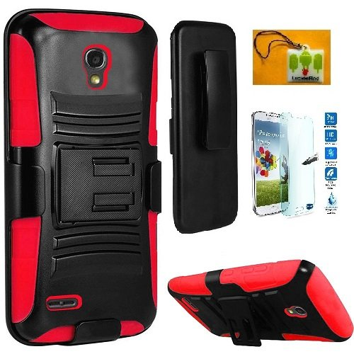 (Galaxy S4, Straight Talk Samsung Galaxy S4 S975L LTE , LF Hybrid Armor Stand Case with Holster and Locking Belt Clip, with Tempered Glass Screen Protector & Wiper (Holster Red))