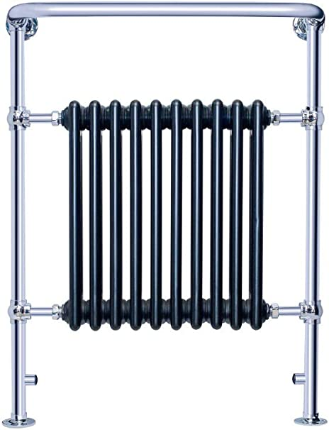 Floor Mounted for Clothes Black and Chrome Finished 10 Column 940 x 735 MM with valve Global Traditional Victorian Style Bathroom Heated Towel Rail with Radiator