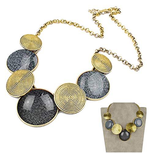 (SUMAJU VTG 18KGP Gold Tone Round Choker Big Drop Acrylic Chain Bib Necklace for)