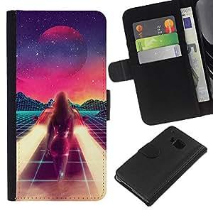 KingStore / Leather Etui en cuir / HTC One M9 / Pintura abstracta del espacio de la ciencia ficción púrpura Estrellas