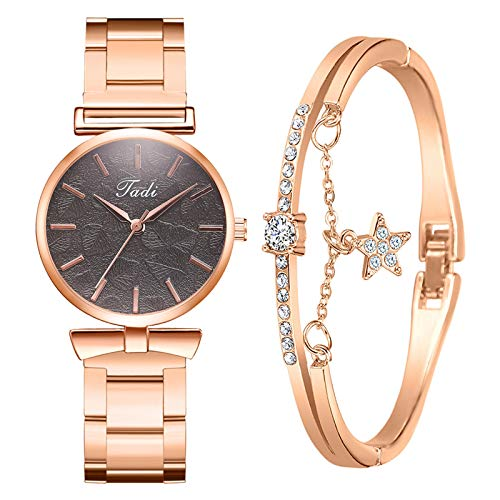 BiuBuy Women's Rose Gold Watches Quartz and Bracelet Set with Stainless Steel Strap Valentines Day Gifts for Women Girls