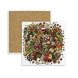 Casino Bar Poker Card Chips Jackpot Illustration Square Coaster Cup Mug Holder Absorbent Stone for Drinks 2pcs Gift
