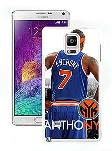 New Custom Design Cover Case For Samsung Galaxy Note 4 N910A N910T N910P N910V N910R4 New York Knicks Anthony 1 White Phone Case