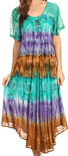 Sakkas 17506 - Sula Tie-Dye Wide Neck Embroidered Boho Sundress Caftan Cover Up - Seagreen/Brown - OS