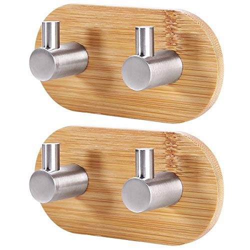 abcGoodefg Adhesive Hooks Bamboo and Stainless Steel Ultra Strong 3M Hanger Towel Hooks for Kitchen Bathrooms Lavatory Closets 2PCS
