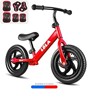 """BeebeeRun Kids 12"""" Classic Sport Balance Bike with Protective Gear, Age 2 to 6 Year Old Boys Girls, No Pedal Sport Training Bicycle"""