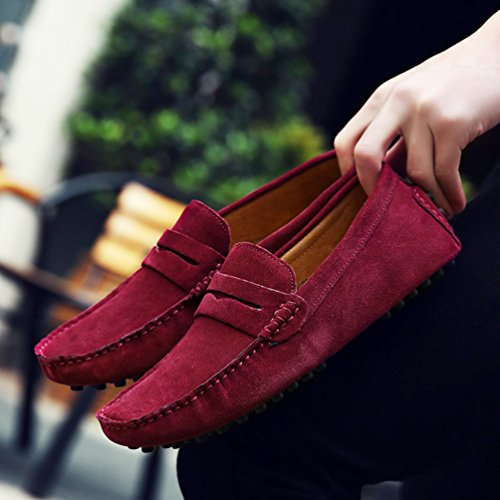 8119e878490 durable modeling SUNROLAN Beau Men s Suede Leather Penny Loafer Slip-On Driving  Moccasin Shoes