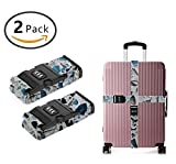YEAHSPACE 2 Pack Glass Countertops Marble Luggage Straps Adjustable Travel Suitcase Baggage Belts With TSA 3-dial Combination Lock