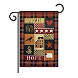 primitive brooms - Breeze Decor G150070 Primitive Collage Love Hope Inspirational Sweet Home Decorative Vertical House Flag, 13