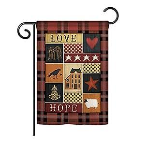 "Breeze Decor G150070 - Bandera decorativa vertical para casa con texto en inglés ""Love Hope Inspirational Sweet Home"", 33 x 47 cm, multicolor"
