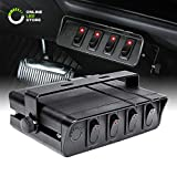 40-Amp On/Off Switch Box [20A Rocker Switches] [LED Backlit] [12AWG Input Wire] 12V SPST 4-Gang Rocker Switch Panel for Automotive