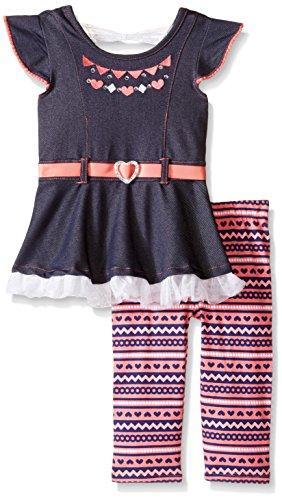Hearts Capri Pants (Little Lass Baby Girls' 2 Piece Capri Set Denim Heart, Denim, 6-9 Months)