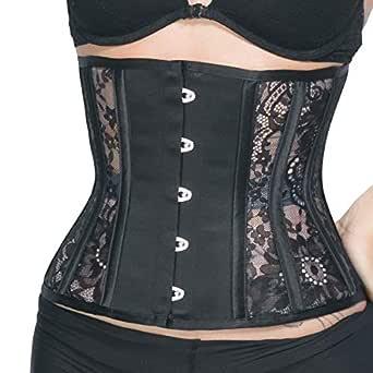 RZY Women's 12 Steel Boned Heavy Duty Waist Trainer Corset Shaper for Weight Loss (Lace Style) (S, Black)