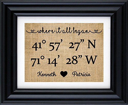 Longitude latitude print, Our Love Story sign, Where it all began - Map Coordinates Print, Our love story burlap art, Gift for Husband, Gift for Wife, Coordinate Burlap Print- 3Z