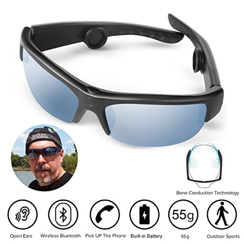Bone Conduction Sunglasses,Bluetooth Wireless Waterproof Sport Bone Conduction Headphones Glasses Earphones Headset Hearing Aid Microphone Music Mp3 Player (141mm)
