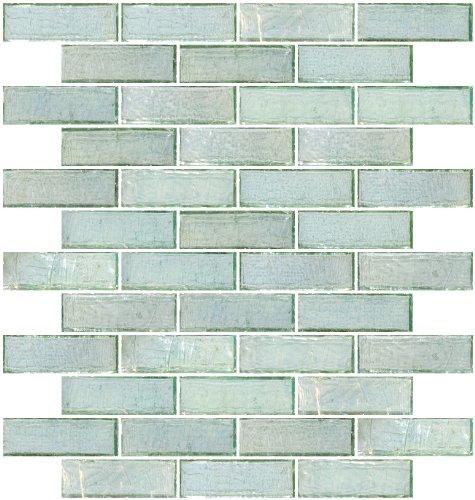 Susan Jablon Mosaics - 1x3 Inch Green Iridescent Glass Subway Tile