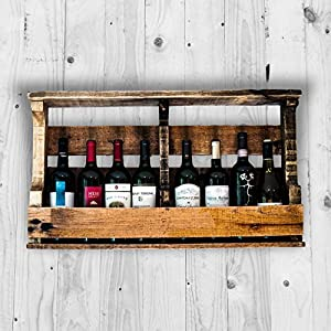 pallet wine rack liquor rack wall mounted made from rustic reclaimed wood holds. Black Bedroom Furniture Sets. Home Design Ideas