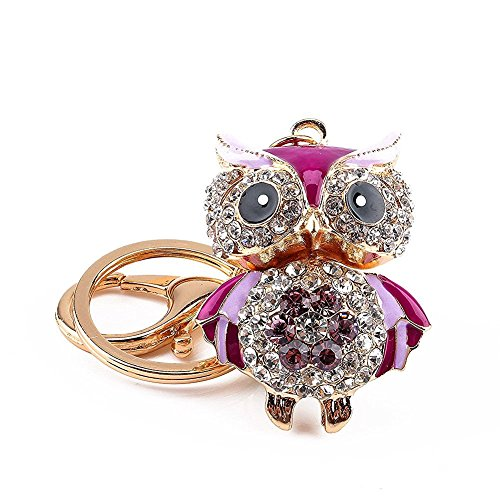 Owl Cute Fashion Diamond Crystal Rhinestone Gold Charm Pendent Handbag Purse Bag Keyrings Key Ring Keychains (OWL-Purple)