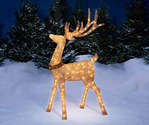 Lighted Reindeer - 5 Foot Gold Champagne Buck Deer Display Outdoor Christmas Yard Lawn Decoration
