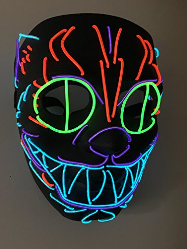 Cheshire Cat Halloween Led Mask Flames Skull Mask Light Up Mask Flashing Carnival Masks for Show Halloween Festival Parties - Cheshire Cat Mask
