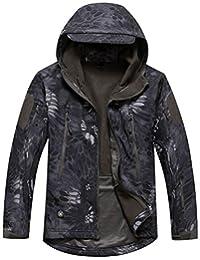 Jinmen Men's Outdoor Waterproof Camo Hooded Shark Skin Soft Shell Tactical Jacket