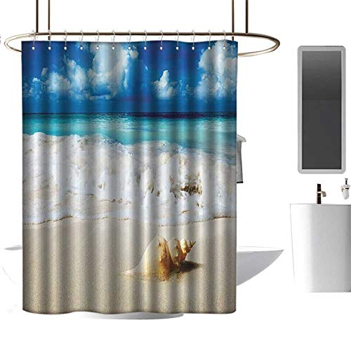 Outdoor Seashell Wall Mount - coolteey Shower Curtains Outdoors Seashells Ocean Decor,Nautical Picture Bright Sunny Sand Waves Picture Print,Blue Ivory and Green,W72 x L84,Shower Curtain for clawfoot tub