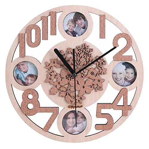 Giftgarden Family Picture Frames 2x2 in Wall Clock Emboss Five Petaled Flowers