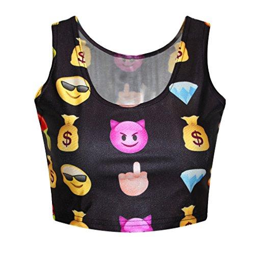 Misomi- Women Emoji Print O-Neck Crop Top T Shirts Casual Vest Tank Tops (S-M, MDE16)