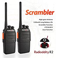 Radioddity R2 UHF 400-470MHz Two Way Radio 16 CH Scrambler VOX Walkie Talkies with Earpiece (Pack of 2)