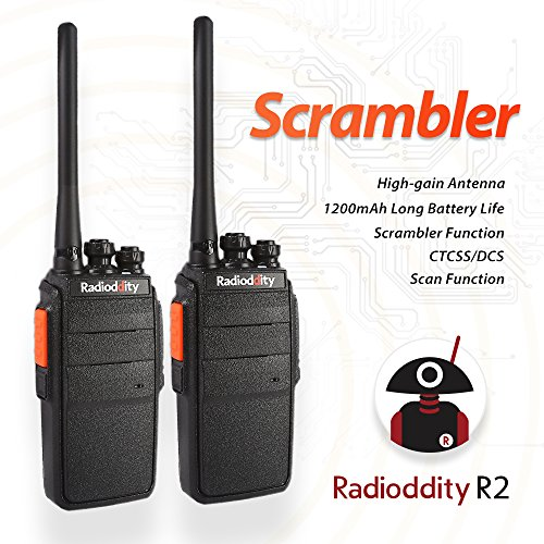 Radioddity R2 UHF 400-480MHz Two Way Radio 16 CH Scrambler VOX Walkie Talkies with Earpiece (Pack of 2)