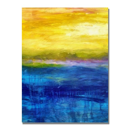 Gold Ornate Frame and Pink Sunset by Michelle Calkins, 18×24-Inch Canvas Wall Art