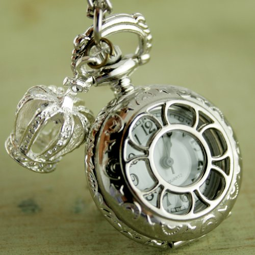 Steampunk Pocket Watch Necklace Pirate Gothic Victorian Pendant Charm with Silvery Crown SET