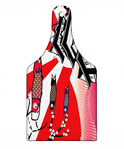 Lunarable Tokyo Cutting Board, Japanese Castle with Traditional Style Gable Roof Koinobori and Sakura Flowers Image, Decorative Tempered Glass Cutting and Serving Board, Wine Bottle Shape, Multicolor by Lunarable