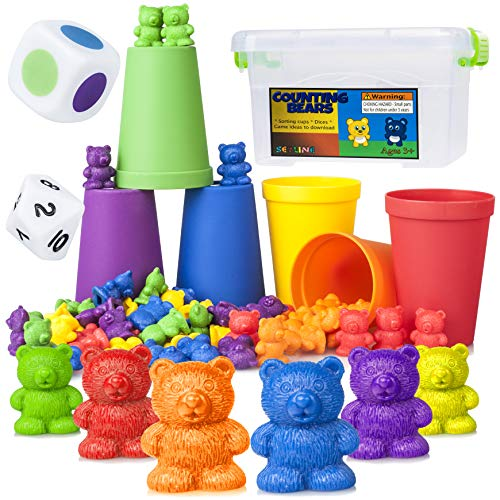Counting Kindergarten Game - Counting Bears Early Learning Toy - 60 Rainbow Counters, 6 Matching / Sorting / Stacking Cups, Number / Color Dice, Storage, Games - Educational Montessori Math for Toddlers, Kindergarten, Preschool