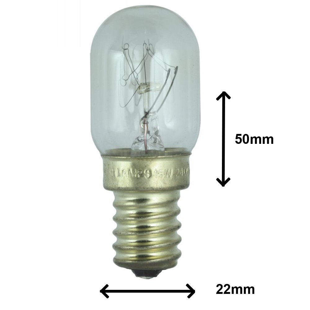 15w Fridge lamp for use within a Fridgemaster Fridge. 240v. SES (E14) Small Edison Screw light bulb
