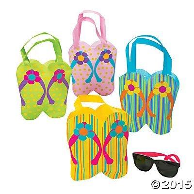 Mini Flip Flop Party Favor Tote Bags - 12 ct