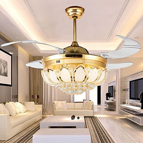 Lámpara LED de ventilador, ventilador de techo, invisible salón araña de cristal, lámpara de cristal estilo americano, ventilador de techo lámpara: Amazon.es: Iluminación