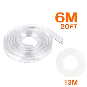 Corner Protectors Transparent, E-PRONSE 6M/20FT Furniture Table Edge Protectors Soft Silicone Bumper Strip with 13M Strong Adhesive Tape for for Cabinets, Tables, Drawers