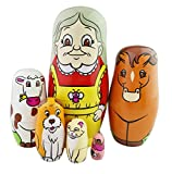 Winterworm Set of 6 Cutie Lovely Grandma Wearing an Bee Apron Farm Animals Horse Cow Dog Cat Bird Style Nesting Dolls Matryoshka Madness Russian Doll Popular Handmade Kids Girl Gifts Toy