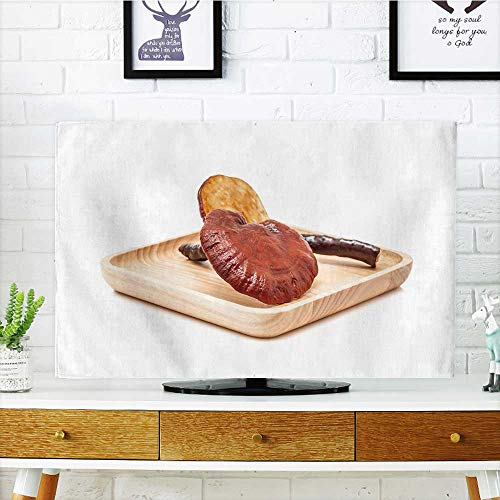 """Price comparison product image Philiphome Dust Resistant Television Protector ganoderma lucidum Mushroom Rare Mushroom on Wooden Plate Isolated tv dust Cover W25 x H45 INCH/TV 47""""-50"""""""