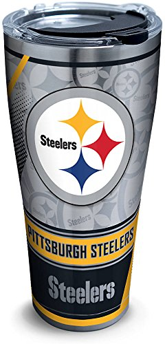 Tervis 1266677 NFL Pittsburgh Steelers Edge Stainless Steel Tumbler with Clear and Black Hammer Lid 30oz, Silver