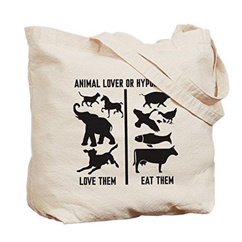 CafePress–Animal amante o hypocrite?–Gamuza de bolsa de lona bolsa, bolsa de la compra