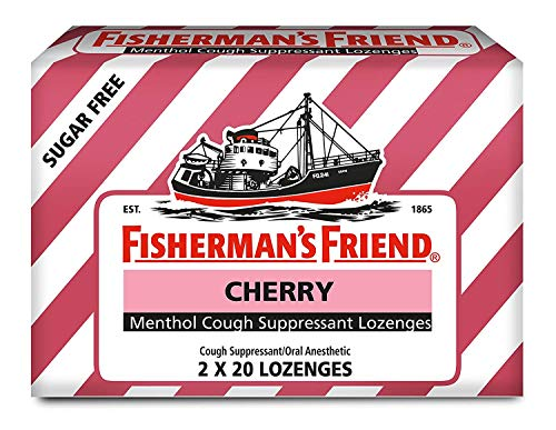 Fisherman's Friend Menthol Cough Suppressant Lozenges Sugar Free Cherry - 40 ct, Pack of 3 ()