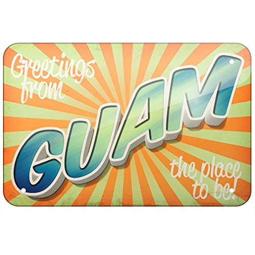 Metal Sign Greetings from Guam, Vintage Postcard TIN Sign 7.8 11.8 inch(L ()