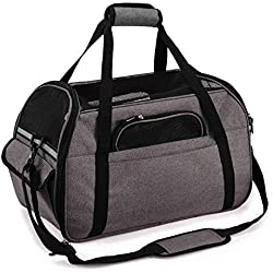 Soft-Sided Pet Carrier for Dogs Cats Travel Bag Tote Airline Approved Under Seat -M Grey